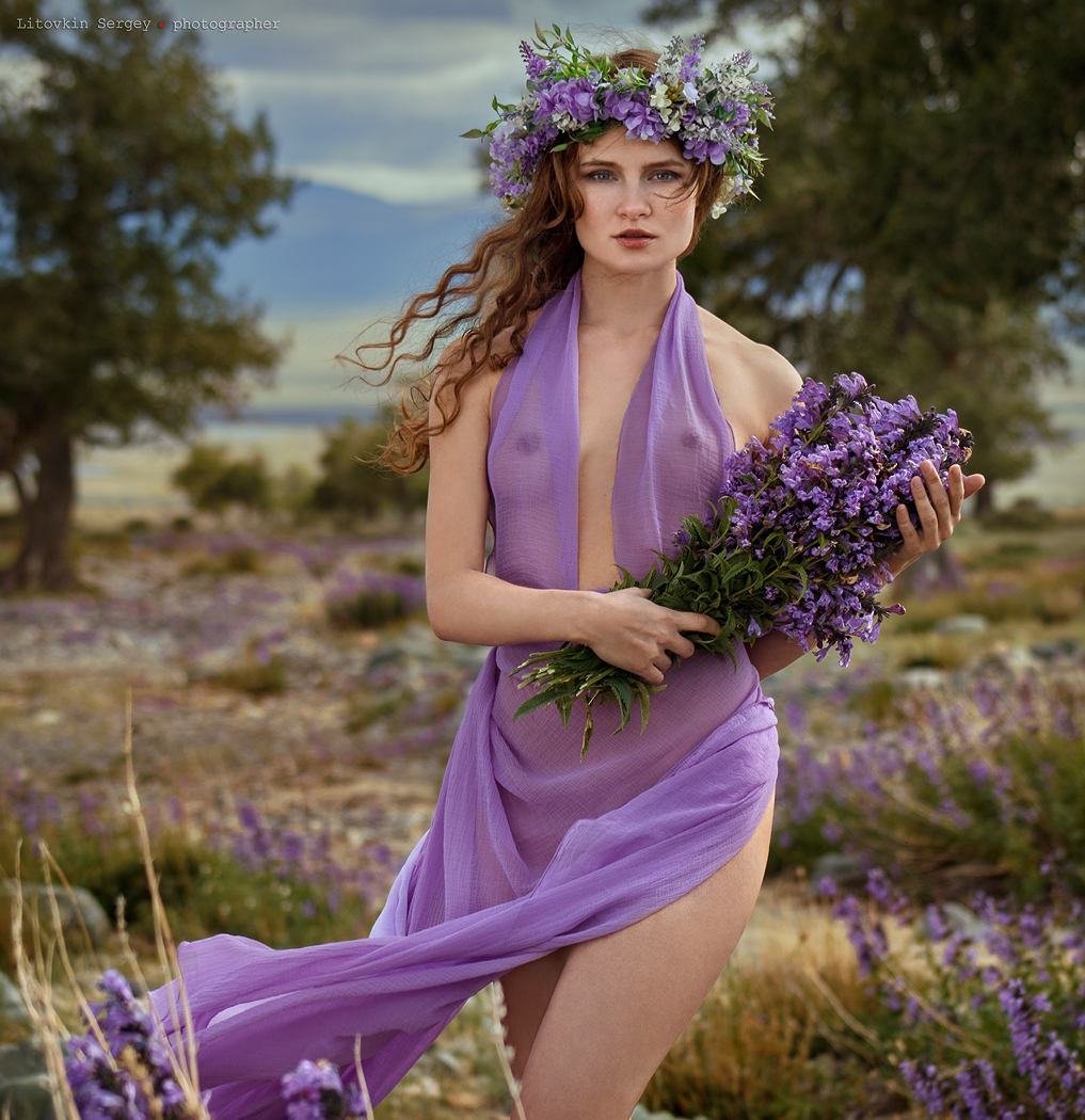 Irina Shelkunova by Sergey Litovkin - lilacs, flowers, see through, redhead